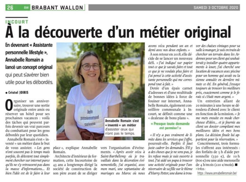 Annabelle Romain dans l'avenir Brabant wallon du 3 octobre